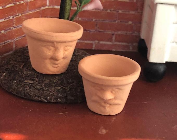 Featured listing image: Miniature Flower Pots, Clay Face Flower Pots, Set of 2, Dollhouse Miniature, 1:12 Scale, Miniature Garden Decor, Dollhouse Accessory