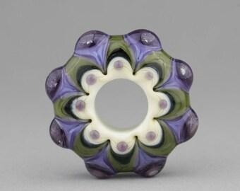 "Handmade Lampwork Glass Bead ""Olives & Grapes"" Disk Focal Bead ~ Big Hole Bead"
