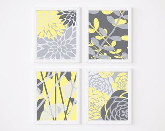 Yellow and Gray Flower Art Print 4 Set Bathroom Art, Nursery Decor, Flowers and Botanical, Bedroom Art Prints or CANVAS Large