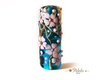 Focal Lampwork Glass Bead with cherry blossom