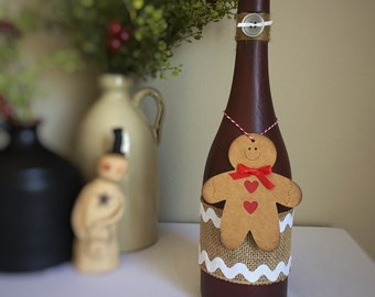 Country Christmas Decor/Gingerbread Decor/Gingerbread Man/Rustic Christmas/Primitive Red/Winter Wonderland/Wine Bottle/Recycled Bottle