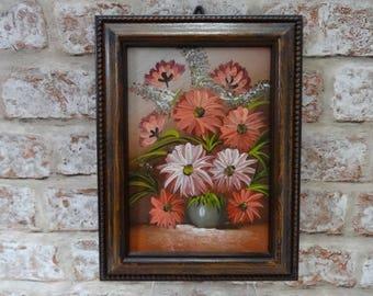 Vintage small Oil painting of Flowers in vase