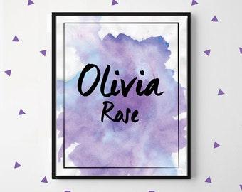 Purple Watercolour Wall Art, Custom Name, Kids room Personalised Poster, Nursery room decor, Printable digital file