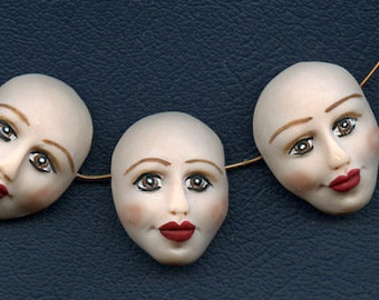 """Face  Beads   Lot   of 3      1 1/8 """" x 7/8""""  Polymer Detailed Side Drilled DFB 3"""