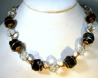 SALE, Fancy Black, Gold n Clear Glass Beads On a Chain, Petite 1960s Glamorous , Fancy Elegant and Understated Necklace