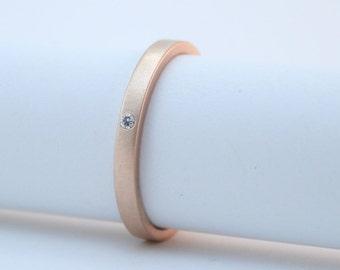 Rose Gold Diamond Ring - 18 Karat Rose Gold Engagement Ring - Modern Wedding Band - Matte Finish - Simple Solid Gold Ring - Minimalist Ring