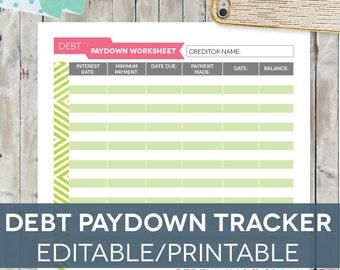 Debt Tracker Worksheet, Editable Printable INSTANT DOWNLOAD Letter-sized