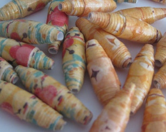 30 paper beads in Fall colors