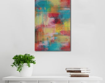 Colourful Abstract Canvas Art | Wall Art | Home Decor | Acrylic Art | Titled Hear The Yellow Wanderer | By artist Charlie Albright