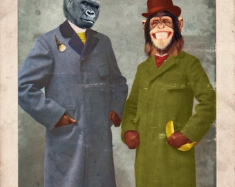Gorilla Art Chimpanzee Print Monkey Animal Photography Wild Animal Art Wall Decor International Shipping Print - Stan & Jimmy
