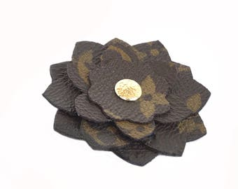 Louis Vuitton Pin, Louis Vuitton Brooch, Designer Pin, Flower Pin made with Upcycled Authentic Canvas
