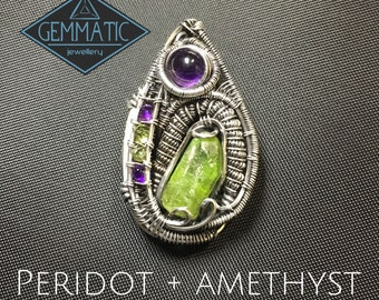 Peridot and Amethyst Sterling Silver wire wrap pendant
