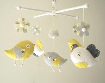 """Baby crib mobile, Bird mobile, felt mobile, nursery mobile, baby mobile,""""Bird - yellow and grey"""""""