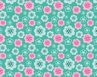 Promotional Coupon fabric cotton patchwork Best Friends x1m pink and green flowers