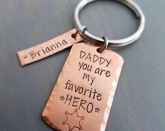Sheriff deputy father keychain, Sheriff star dad gift, father's day gift, deputy dad, gift for Sheriff, daddy hero keychain, gift for dad