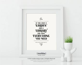 Printable Quote, Garden and a Library, Cicero Quote, Printable Art, Inspirational Art, Home Decor, Vintage Typography, Instant Download,