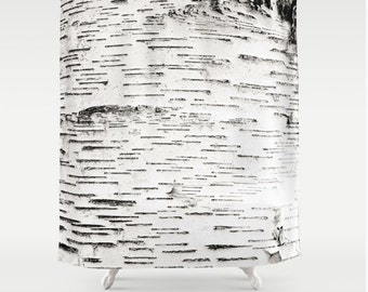 Birch Tree Bark Shower Curtain, Forest Woodlands Nature Shower Curtain, Birch Tree, Black and White Tree, Nature Lover Bathroom Decor