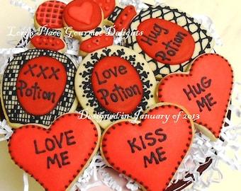 Valentines Day Cookies - Love Potion Valentines Day Cookies - 6 Cookies