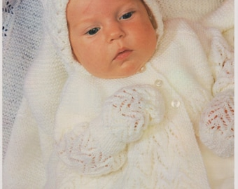 Knitting Patterns Baby Layette - Matinee Coat, Bonnetn Booties, Mittens and Shawl Digital Download Baby Pattern for 3 Ply Wool