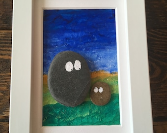 Handmade Unique Rock Pebble Art Wooden Frame, Ideal Gift, Birthday Fathers Day, Daddy, 'you rock' best Dad