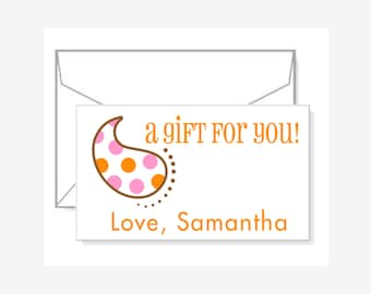 Personalized Gift Enclosure Cards with Mini-Envelopes - Paisley Polka Dots