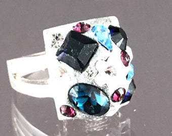 Square Blues Swarovski Crystal Ring