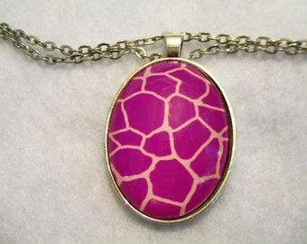Bright Magenta GIRAFFE Print Cabochon PENDANT Necklace