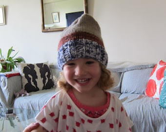 Cotton and wool ribbed toddler hat