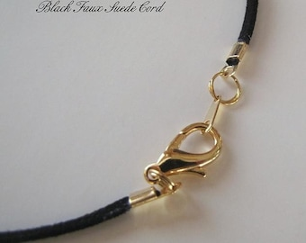 25 to 40 inch Black Faux Suede Necklace Cord, Long,* Large Clasp,  Silver, Gold, Antique Brass Lobster Clasp,  Custom,   Jewelry  Accessory,