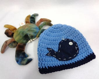 Baby Whale Hat, Crochet Ocean Whale Cap, MADE TO ORDER  Baby Photo Prop, Blue Baby Beanie, Gift for Boy or Girl, Home from Hospital Newborn