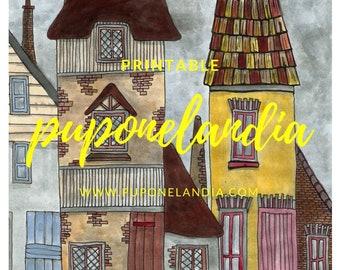 Printable illustration, Printable Art, English Town Illustration, Printable Houses sketch, Colored illustration, Digital Illustration