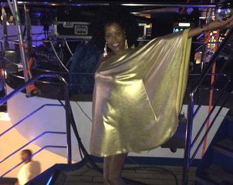 Baylis & Knight Gold Lame STUDIO 54 Batwing 70's Disco Queen Glam One Shoulder Bat Wing Dress Elegant (Smock)