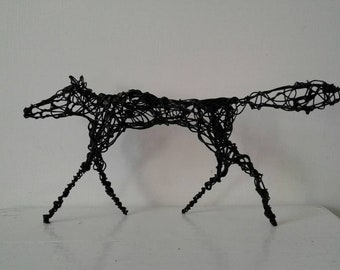 Black Fox. Handmade wirework sculpture. Perfect gift.