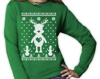 Cute Reindeer Ugly Christmas Sweater - Women's Sweatshirt