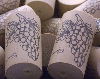 100 Wine Corks With Grapes -- Identical Synthetic Corks