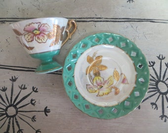 Made in Japan Green and Opalescent Tea Cup Iris Basketweave Floral Teacup Iridescent Teacup Porcelain Tea Cup Flowers Tea Cup Green and Gold