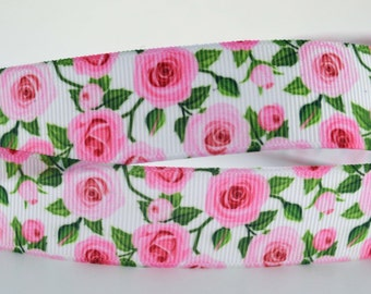 """Pink Rose Floral Printed Grosgrain Ribbon 1"""" Wide Scrapbooking HairBows Parties DIY Projects"""