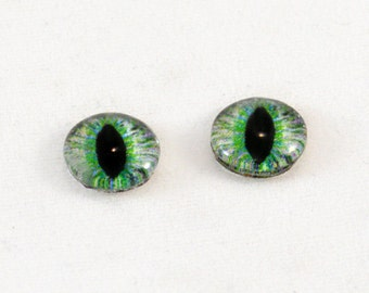 10mm Green and Peach Eye Glass Cabochons - Cat or Dragon Eyes - Glass Eyes for Doll or Jewelry Making - Set of 2