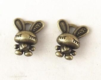 20pcs Antique Bronze 3D Rabbit Charm Pendants 14x16mm B205-1