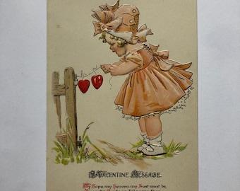 Vintage Valentine Postcard 1900s My hope, my heaven, girl in a peach dress with a string of hearts German  Valentine Ephemera