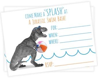 PRINTABLE Dino Swim Invites - #DIY #Digital #File (instant download)