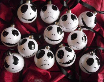 Set of 9 Jack Skellington ornaments baubles white iridescent  Nightmare Before Christmas tree decoration gift