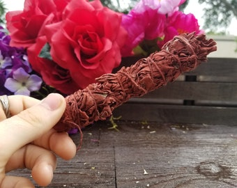 4 Inch Dragon's Blood Smudge Stick | White Sage | Dragon's Blood | Metaphysical Tools | Cleansing | Wicca | Psychic Reading | Shamanism |