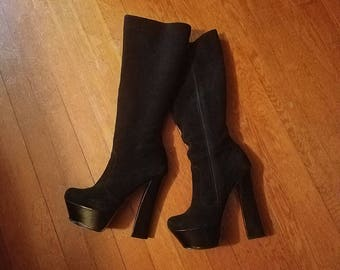 Vintage Black Platform Boots, Genuine Suede Leather, 6 Inch Heel, Size 6 1/2 6.5