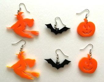 Halloween Earrings, Pumpkin Earrings, Bat earrings, Witch Earrings, Orange Black Earrings, Bat Jewelry, Happy Halloween, Halloween ornaments