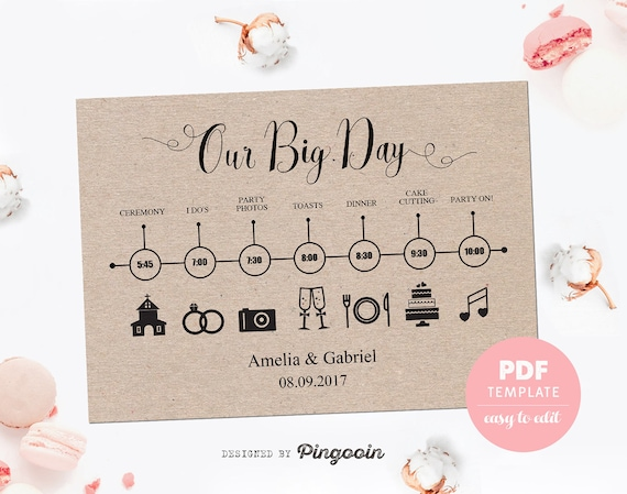 Wedding Timeline Card Wedding Template Card Easy Editable