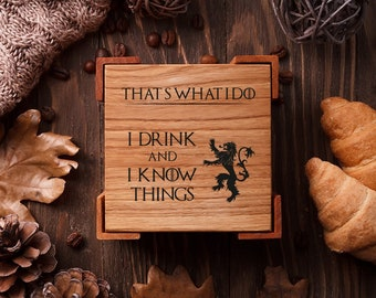 Custom coasters Engraved coasters Wedding coasters favor Bridal shower gift Personalized coasters set Housewarming Gift Game of Thrones gift
