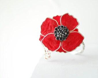 Red Poppy Jewelry, Paper Cuff Bracelet, Van Gogh Inspired, Retro Flower Jewelry