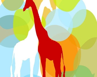 The Twin Giraffes -  Kids Art Prints, nursery decorating ideas, Giraffe art, nursery,  giraffe, baby nursery two giraffes