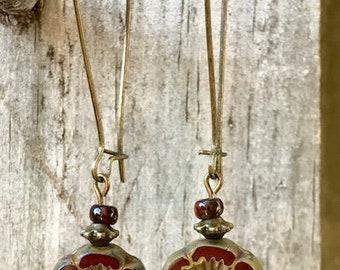 Wine Earrings, Burgundy Earrings, Flower Earrings, Bronze Earrings, Boho Earrings, Rustic Earrings, Nature Earrings, Earthy Earrings